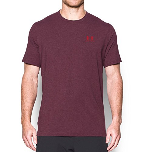 Under Armour Men's Charged Cotton Left Chest Lockup, Raisin Red/Red, Large Red Raisin
