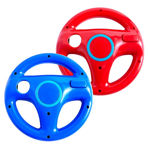 (DOYO 2 Pack Wii Steering Wheel for Mario Kart 8, Super Mario and Other Driving Games, Wii (U) Racing Wheel for Remote Plus Controller Blue and Red)