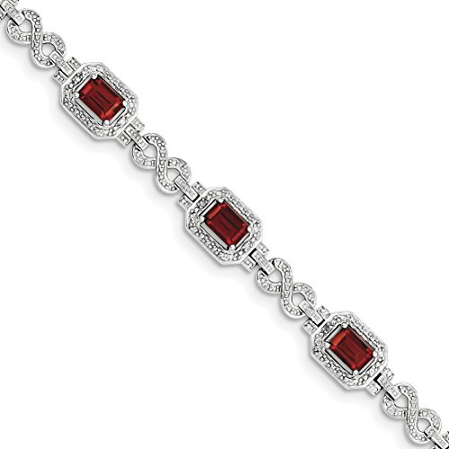 ICE CARATS 925 Sterling Silver Diamond Red Garnet Bracelet 7 Inch Infinity Gemstone Fine Jewelry Gift Set For Women Heart by ICE CARATS