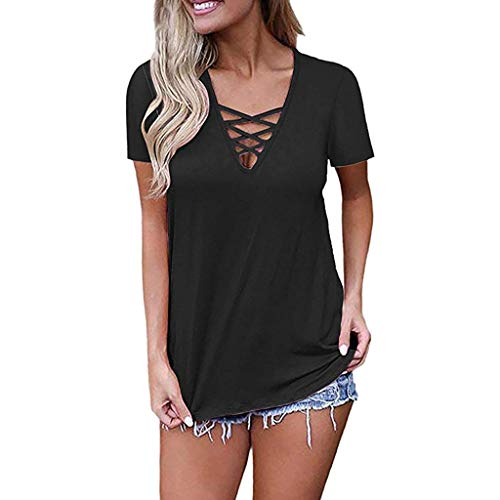 Women's Short Sleeve V Neck Tunic Tops, Clearance Ladies Summer Criss Cross Shirt Casual Solid Loose Blouse Tops