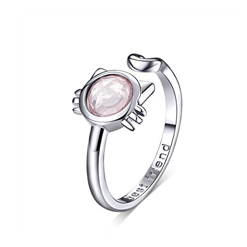 WOSTU Sterling Silver Cat Open Ring, Pink ()