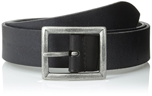 John Varvatos Men's 35 mm Dress Leather Center Bar Belt, Black, 38