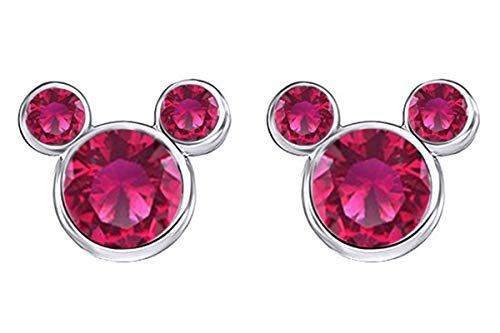 - Jewel Zone US July Birthstone Dark Pink Mickey Mouse Stud Earrings in 14k White Gold Over Sterling Silver