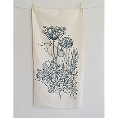 Culinary Herb Tea Towel in Blue-green