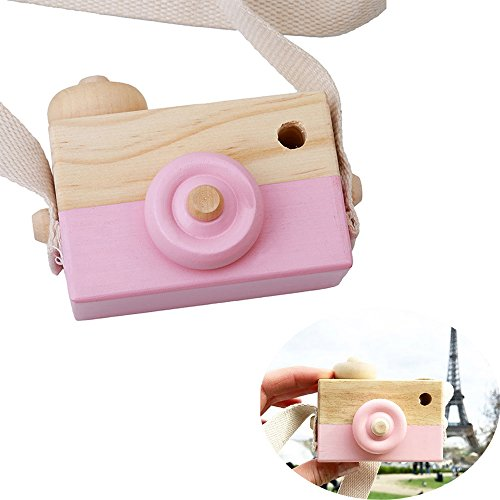 wgg Mini Wooden Camera Children's Toy, Kid's Room Hanging Decoration Portable Toy Gift (Pink)