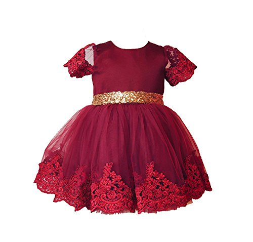 Harmony Fifth Costumes Blue (Uudora Baby Girl's Lace Embroidery Dress Gold Sequins Bow Belt Princess)