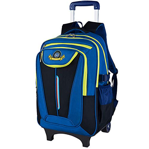 Rolling Backpack for Boys, COOFIT Wheeled Backpack Roller Backpack School Backpack With Wheels Blue