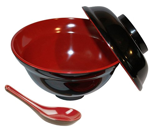JapanBargain (3424+2384-J) Brand Set of Rice Miso Soup Bowl with Lid and Spoon Black & Red Color 16 oz