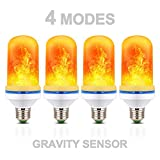 4 Pack LED Fire Flame Flicker Effect Light Bulb, 4 Modes Emulation, Constant Light, Breathing, Gravity Sensor Fire Flickering E26 Bulbs, Decorative Light for Home Hotel Bar Wedding Party Decoration
