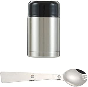 Food Thermos, Leak Proof Soup Thermos, Stainless Steel Vacuum Insulated Thermal Lunch Container Flask,27oz Thermos for Hot Food with Folding Spoon and Handle (Silver)