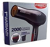 Red by Kiss 2000 Ceramic Ionic Hair Blow Dryer 2 Bonus Detangler...