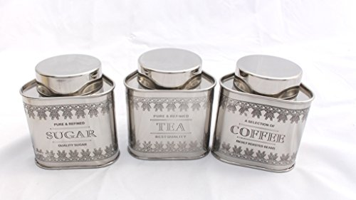 Airtight Canisters Stainless Steel Vintage Tea Coffee and Sugar Set of 3 (Triangle)