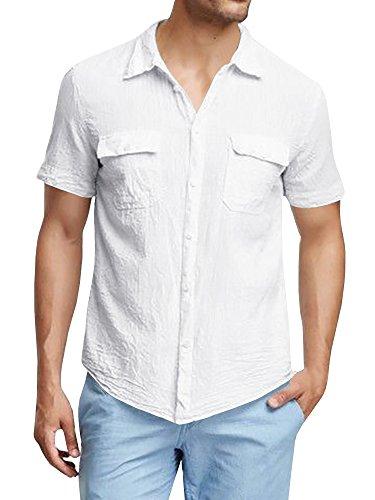 PASLTER Men's Short Sleeve Slim Fit Two Pocket Summer Button Down Slim Fit Linen Shirts
