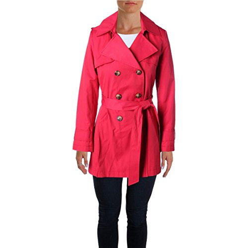 DKNY Womens Pleated Double-Breasted Trench Coat Red PM