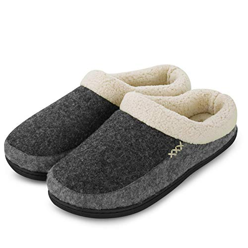 (FANTURE Men's Memory Foam Slippers Wool-Like Plush Fleece Lined Slip-on Clog Scuff House Shoes Indoor & Outdoor-U418WMT026-darkgray.lightgray-42.43)