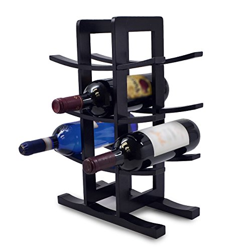 Sorbus Bamboo Wine Rack - Holds 12 Bottles of Your Favorite Wine - Sleek and Chic Looking Wine Rack (Black) (12 Bottle Wine Rack Black)