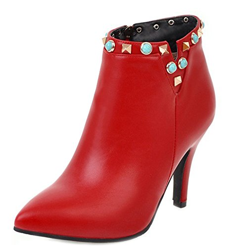 Stylish Up Aisun Rivet Heels Booties Red Zip Women's Kitten 6Iw5qgw