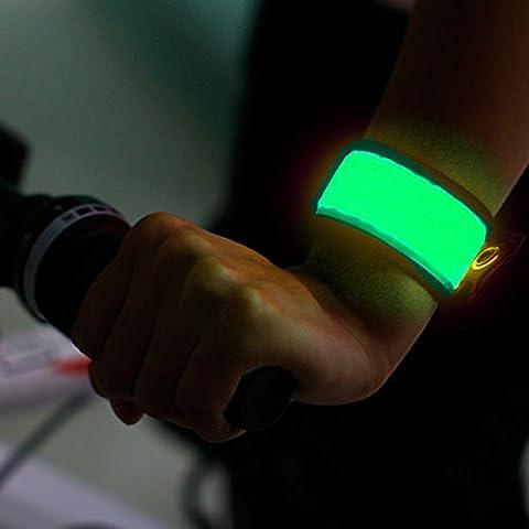 BSeen (TM), LED Slap Band, Glow bracelet, armband Glow in the dark (Green-Logo) (Marine Battery Box Small)