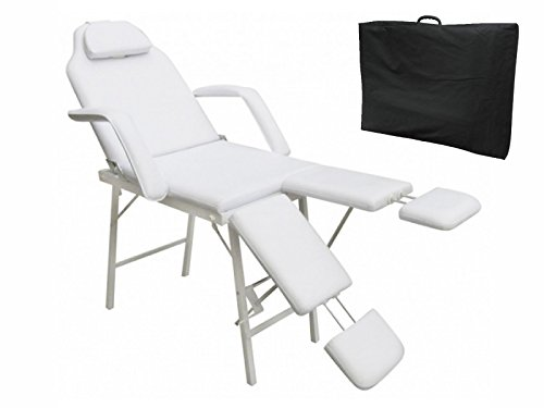 75″L Adjustable Massage Table,BestComfort Professional Spa Bed, 3 Folding Massage Bed Facial Cradle Salon Bed With Carry Case (M)