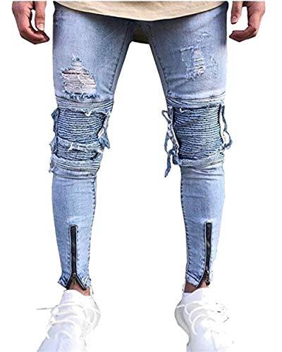 Stretch Jeans In Pantaloni Blau Especial Di Retrò Moda Moto Fit Motociclista Estilo Denim Da Slim Strappati Uomo EqCYCxPT