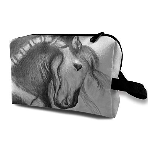 Halloween Painted Horse Skeleton Multi-function Travel Makeup Toiletry Coin Bag Case