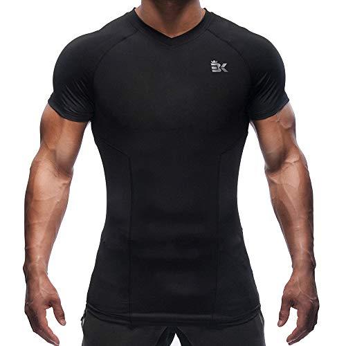 a03940275ce70f BROKIG Men's Gym Bodybuilding Compression Shirt Training Workout Tops Short  Sleeves T Shirts (V-Neck Black, XL)