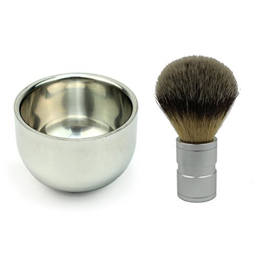 ULTNICE Badger Hair Shaving Brush with Double Layer Stainless Steel Shave Bowl Mug