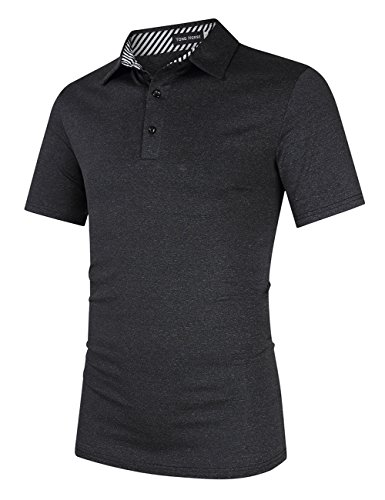 Mens Short Sleeve 2 Button (Yong Horse Men's Casual Dry Fit Golf Polo Shirts 2 Button Athletic Short Sleeve Polo T Shirt (L Black))