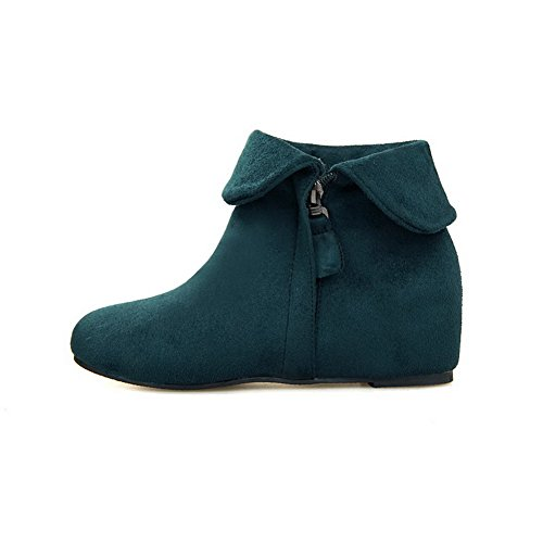 AmoonyFashion Womens Zipper Round Closed Toe Kitten-Heels Imitated Suede Ankle-high Boots Green eLvj6AyLX