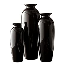 "Hosley's Elegant Expressions Set of 3 Black Ceramic Vases-L 12"", M 10"", S 8"" in Gift Box. Ideal GIFT for weddings, party, spa, reiki, meditation."