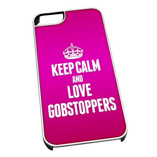 Bianco cover per iPhone 5/5S 1131Pink Keep Calm and Love Gobstoppers