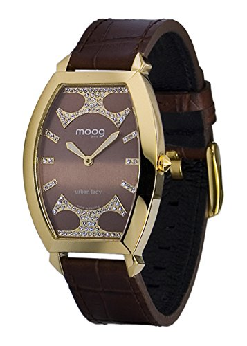 Moog Paris Urban Lady Women's Watch with Chocolate Dial, Brown Genuine Leather Strap & Swarovski Elements - ()