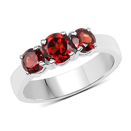 Sterling Silver Round Cut Garnet Ladies 3 Stone Bridal Engagement Ring (Size (Cut Garnet 3 Stone Ring)