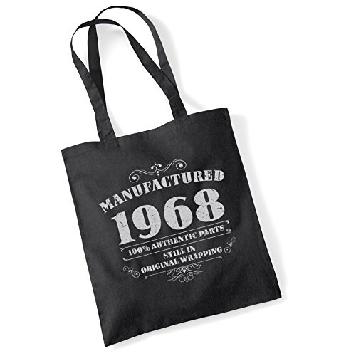 Tote Bags For Women Manufactured 1968 Printed Cotton Shopper Bag Gifts Black