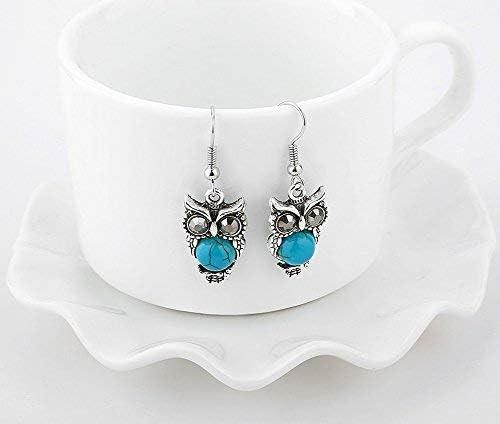 Wicemoon Parure de bijoux pour femme avec collier bracelet et pendentif en forme de chouette Bleu