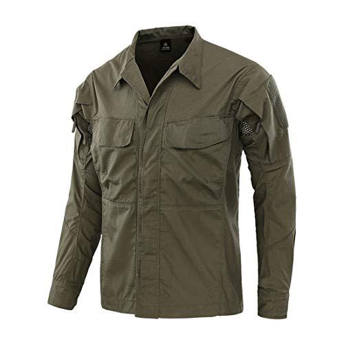 Military Ba Men's UPF 50+ Sun Protection Outdoor Long Sleeve Shirt-Green S