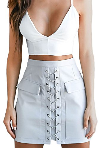 Prograce Woman Fitted Bodycon Lace Up Solid PU Leather Autumn Mini Skirt (Autumn Skirt)