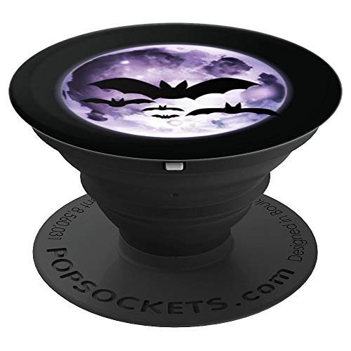 Beautiful Flying Bats Purple Full Moon Silhouette - PopSockets Grip and Stand for Phones and Tablets -