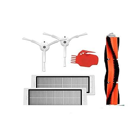 TOOGOO 6 piezas de aspiradora 2 pinceles laterales + 2 filtros HEPA + 1 pincel principal + 1 herramienta x Adecuado para Xiaomi Mi Robot: Amazon.es: Hogar