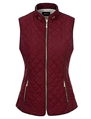 Doublju Quilted Padding Zip-Up Vest With Pockets (Plus size available)