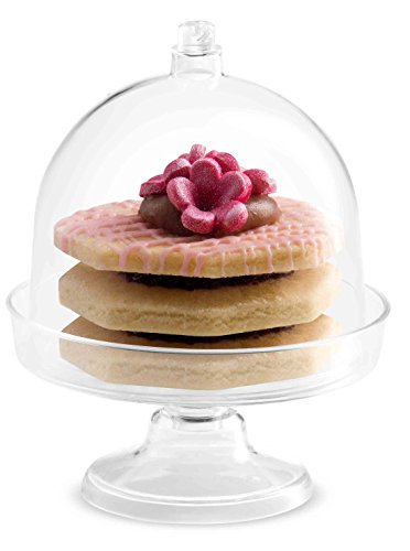 MINI WONDERS Tiny Cake Dome with Pedestal | 24 Pack | Clear Plastic | Disposable | For Chocolate, Cheese, Coconut Macaroons, Rum Balls, Candies & More! [ Converts To A Small Trifle Bowl ]