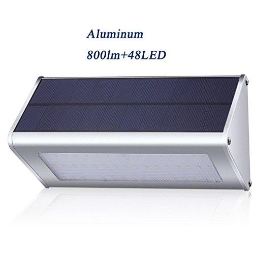 800 Lumens Outdoor Solar Lights  Ranger5 Aluminum Alloy 48 Led Radar Motion Sensor Waterproof Security Garden Yard Wall Light