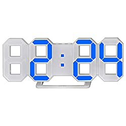 perfeo 3D LED Digital Alarm Clock, Easy to Read at Night, Silent Clock with 3 Brightness Levels, Modern Desk/Shelf/Table/Wall Alarm Clock for Home Decor (White, Blue)