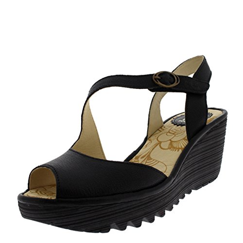 London Sandals Yamp Fly Wedge Black qTzxSZ7