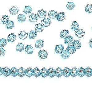 Steven_store SCB215 Aquamarine Blue 3mm Xilion Faceted Bicone Swarovski Crystal Beads 48pc Making Beading Beaded Necklaces Yoga Bracelets