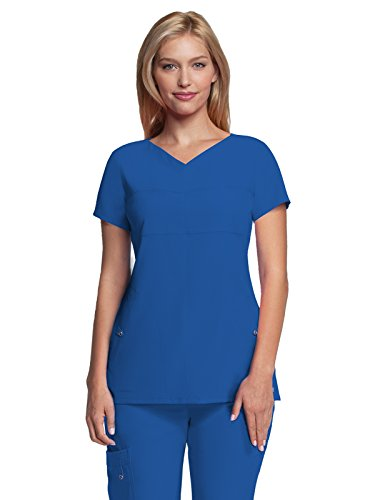 Grey's Anatomy Signature Women's Two Pocket Soft V-Neck Scrub Top, New Royal, X-Large (Signature New 2 Button)