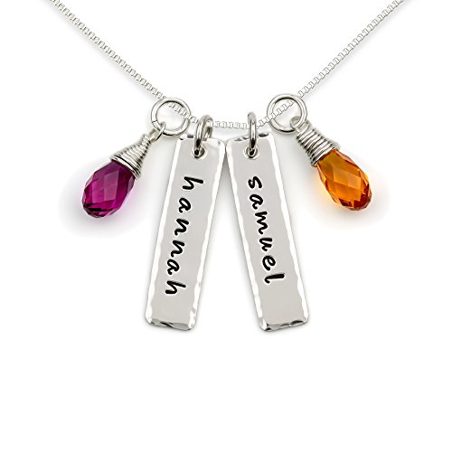 (Double Edge Hammered Personalized Sterling Silver Name Charms with Briolettes. Customize 2 Rectangular Pendants with Names of Your Choice. Includes 2 Swarovski Briolettes and 925 Chain. Gifts for)