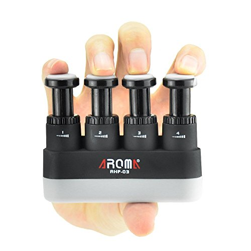 Finger Strengthener,4 Tension Adjustable Hand Grip Exerciser Ergonomic Silicone Trainer for Guitar,Piano,Trigger Finger Training, Arthritis Therapy and Grip, Rock climbing (AHF-03)