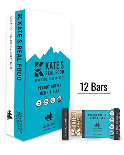 Kate's Real Food Granola Bars   Clean Energy, Organic Ingredients, Gluten Free, Non GMO   All Natural Delicious Health Snack (Peanut Butter Hemp & Flax, 12 - Organic 12 Food Pack Bar