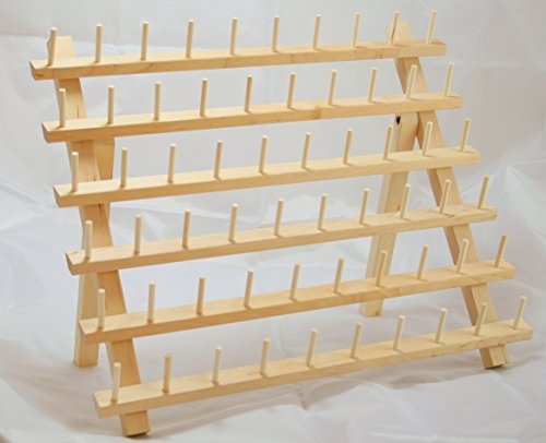60 Spool Thread Rack Organizer for Sewing Quilting Embroidery Spools and Mini Cones Hard Birchwood